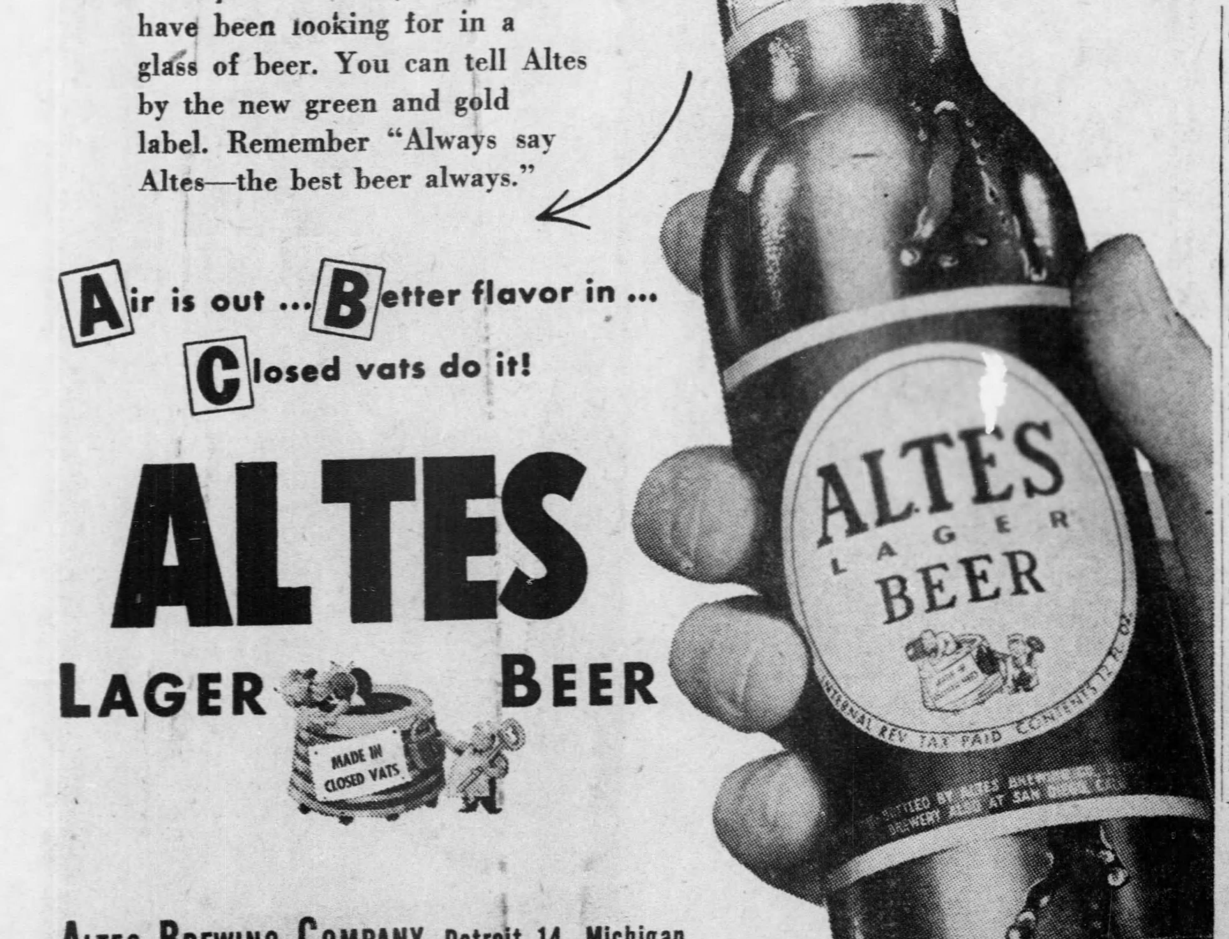 An ad for Altes Lager published in the Free Press on Oct. 15, 1949.