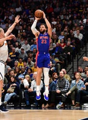 Pistons forward Blake Griffin shoots in the second half of the Pistons' 95-92 loss on Tuesday, March 26, 2019, in Denver.