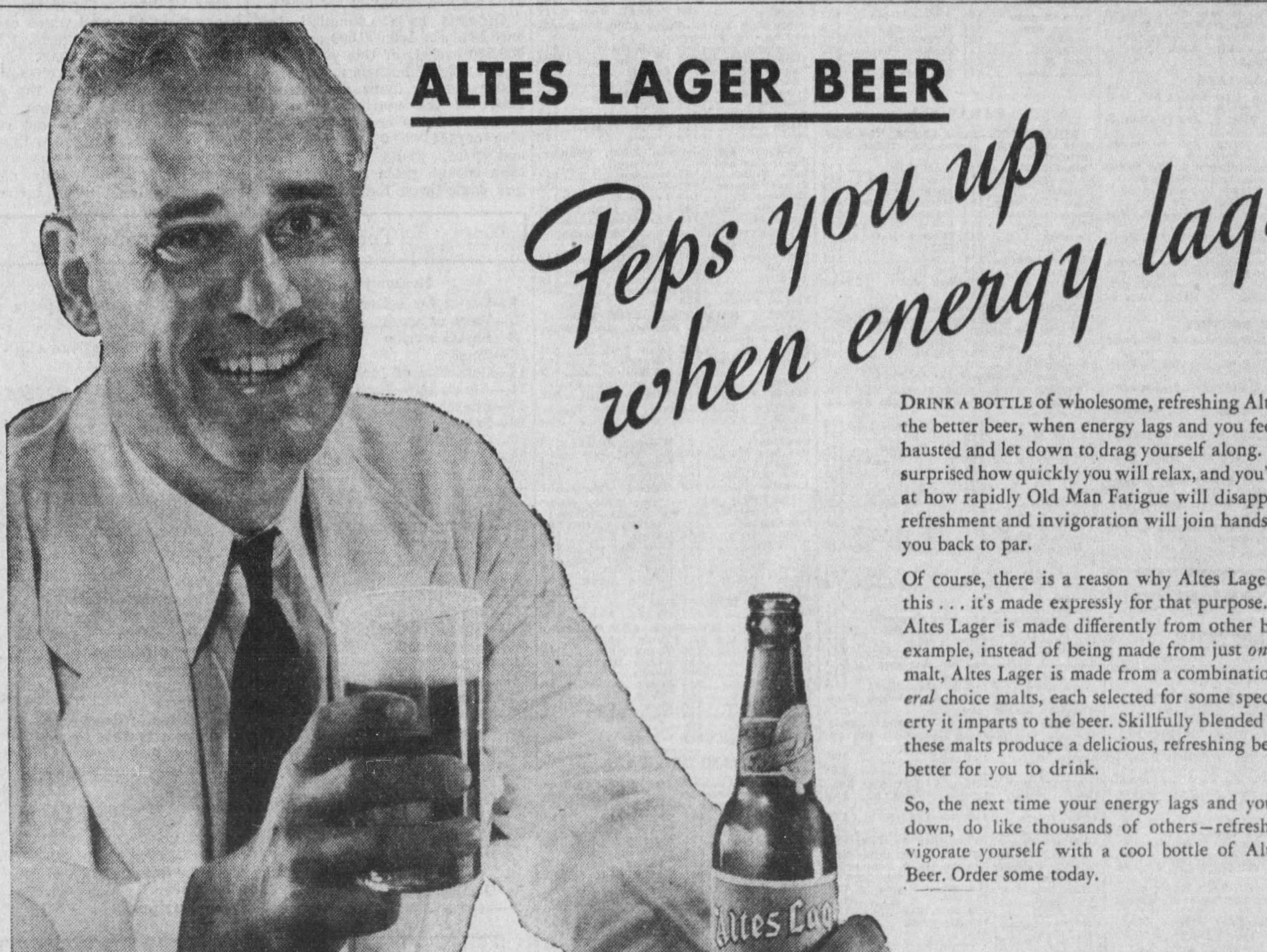An ad for Altes Lager published in the Free Press on Aug. 22, 1938.