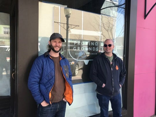 James Courtney (left) and Daman Auvenshine (right) in front of the former Gayle's Chocolates Space, where they have signed a lease to open a second location of Proving Grounds Coffee in Downtown Royal Oak.