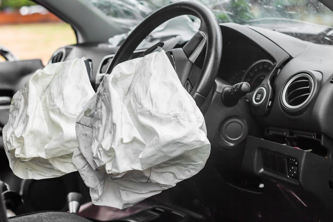 Exploded airbags after a car accident.