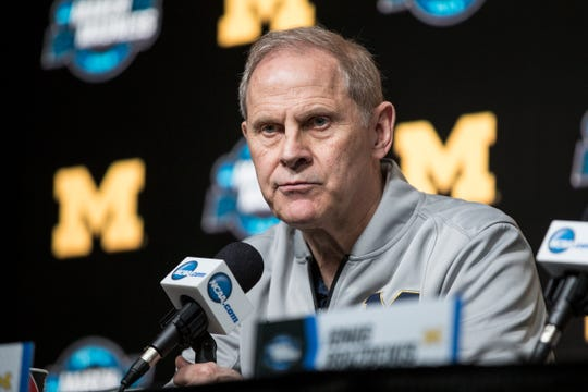 Michigan basketball head coach John Beilein answers a question during a press conference as the Wolverines prepare for Thursday's Sweet 16 game at the Honda Center in Anaheim, Calif., Wednesday, March 27, 2019.
