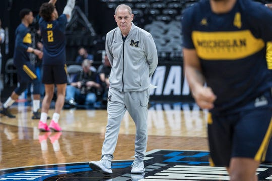 Michigan basketball head coach John Beilein watches practice as the Wolverines prepare for Thursday's Sweet 16 game at the Honda Center in Anaheim, Calif., Wednesday, March 27, 2019.