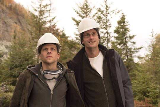 "Jesse Eisenberg and Alexander Skarsgård in ""The Hummingbird Project."""