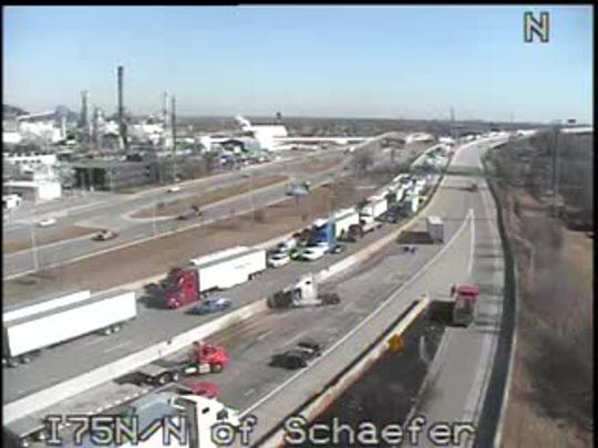 All lanes of northbound I-75 near Schaefer Road were blocked due to a crash, officials said.