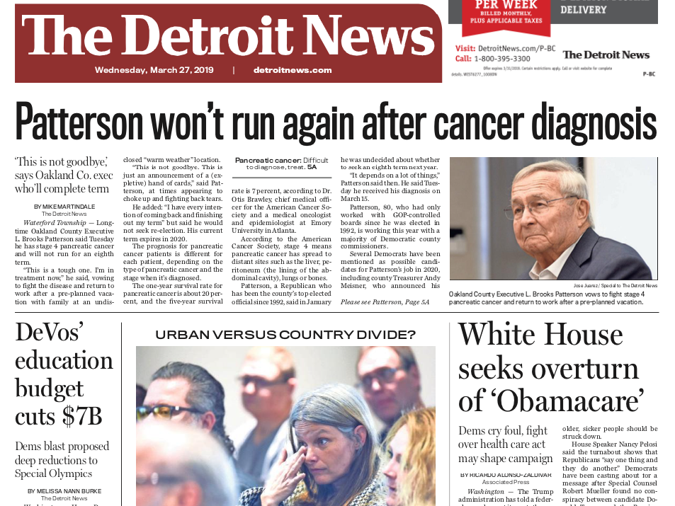 The front page of the Detroit News on Wednesday, March 27, 2019