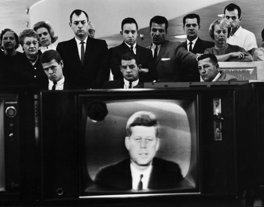 Los Angeles televised address with President Kennedy, 1962.