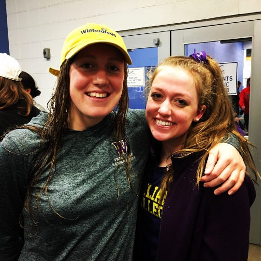 Williams College swimmer Molly Craig, left, and her sister, Catherine, at the 2019 NCAA Division III women's swimming championships in Greensboro, North Carolina.