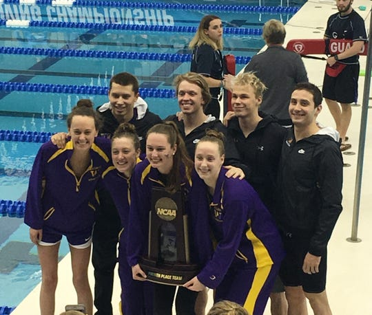 Molly Craig, second from left, and some of her Williams College teammates hold their fourth-place trophy at the 2019 NCAA Division III swimming championships in Greensboro, North Carolina.