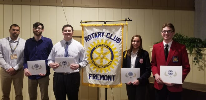 Scott Lang, Rotary Club Immediate Past President, stands with the March Rotary Students of the Monday. Left to right are: Zachary Gaietto from Terra State Community College, Zach Frye from Fremont Ross High School, Natalie Cook from St Joseph Central Catholic High School and Logan Johnson from Vanguard Career Center.