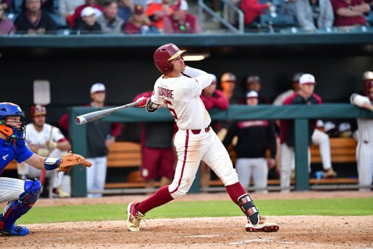 Florida State second baseman Mike Salvatore smacked a two-run homer in the bottom of the sixth inning against Florida at the Baseball Grounds of Jacksonville on Tuesday night.
