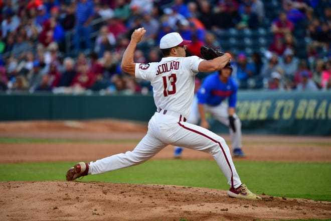 Florida State starter Jonah Scolaro lasted four innings while surrendering one run and three hits against Florida at the Baseball Grounds of Jacksonville on Tuesday night.