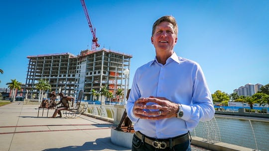 Joe Collier, of Mainsail, gives information on the progress being made on the new downtown Fort Myers hotel, Luminary. He also gave highlights on the Amphitheater and the Convention Center builds.