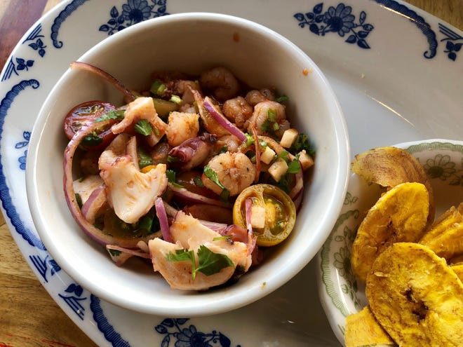 The ceviche of the day with heirloom tomatoes, octopus and rock shrimp from Rocco's Tacos in Naples.