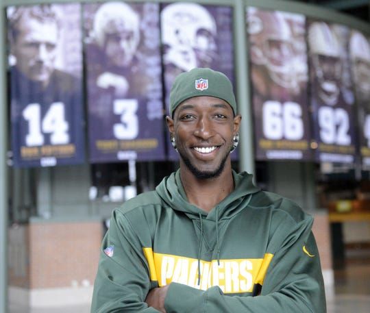 Packers receiver Geronimo Allison relaxes in the Atrium at Lambeau Field on March 27, 2019.