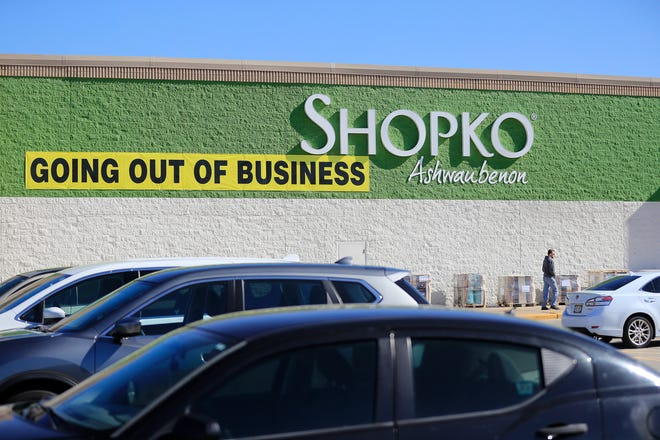Going out of business signs are posted last month outside the Shopko at Bay Park Square in Ashwaubenon.