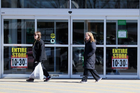 Shoppers leave the Shopko at Bay Park Square on Monday, March 25, 2019 in Ashwaubenon, Wis.
