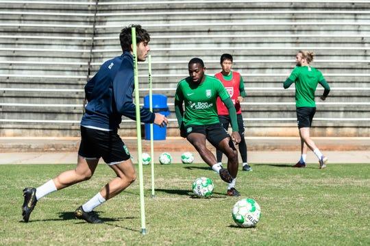 Greenville Triumph, Greenville's new professional USL soccer team, runs through practice drill during their practice at Bob Jones University, Mar. 27, 2019.