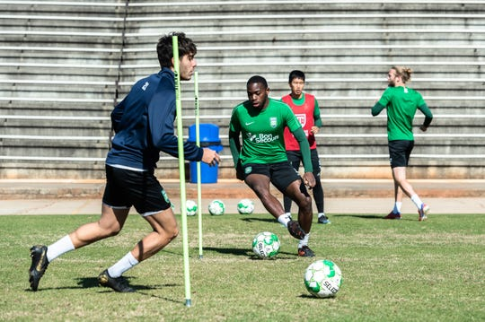 Greenville Triumph, Greenville's new professional USL soccer team, runs through practice drill during their practice at Bob Jones University, Mar. 27, 2019.
