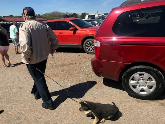 An arrest warrant has been issued against a man accused of dragging a leashed puppy along a driveway at the Jockey Lot, an open air flea market in Anderson, South Carolina. Witness Michele Larson said this is one of the photos of the incident that she provided to investigators.