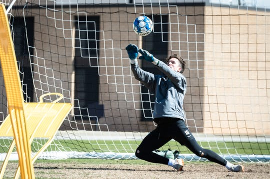 Armando Quezada, a goalkeeper for Greenville Triumph, Greenville's new professional USL soccer team runs through drills during their practice at Bob Jones University, Mar. 27, 2019.