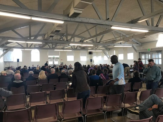 Community members gathered for the second public hearing on the proposed rezoning revisions in the Family Living Center at Montana Expo Park.