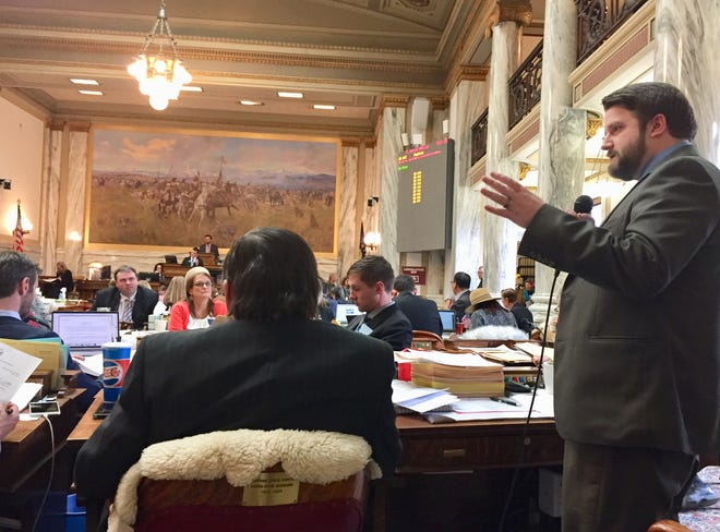 Rep. Mike Hopkins, R-Missoula, speaking on the House floor, carried House Bill 652 which included a mixture of proposed bonding and cash allocations for public works projects.