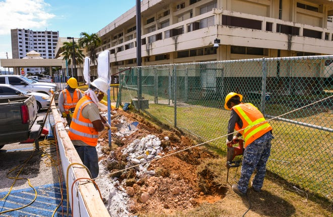"Construction work in front of the Guam Memorial Hospital is shown in this March 27, 2019, file photo. Gov. Lou Leon Guerrero is ""leaning favorably"" toward building a replacement Guam Memorial Hospital in Mangilao."
