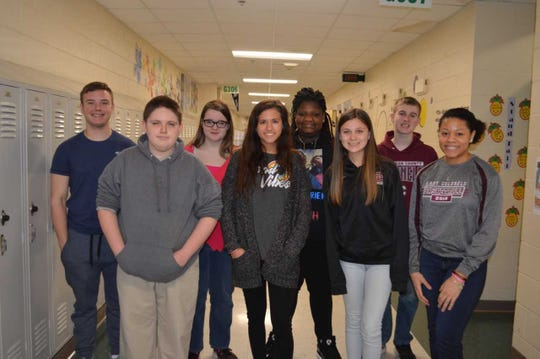 Henderson County High School's March 2019 students of the month are, front row from left: Tyler Dvorsky, Sophia Palummo, Emma Alves and Lauren Hubbard. 2nd row: Dalton Hinkle, Abbey Collier, KaMarion Black and Dylan Muensterman. Not pictured:  Estie Hazelwood, Wes Owen and Luke Fulkerson.