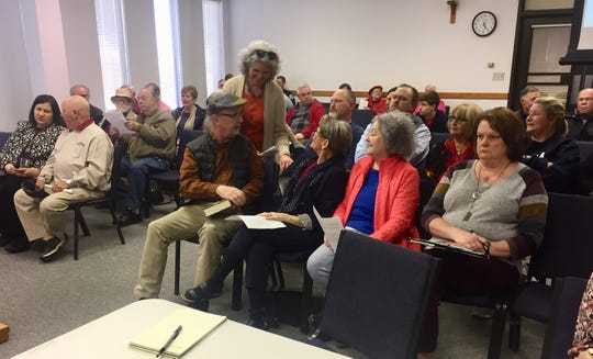 The audience at Tuesday evening's Henderson City Commission meeting, when it was decided that officials will consider an proposed ordinance to prevent discrimination based on gender identity or sexual preference.