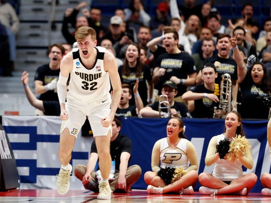 Purdue Boilermakers center Matt Haarms (32) reacts after a score against the Old Dominion Monarchs during the second half of a game in the first round of the 2019 NCAA Tournament at XL Center.
