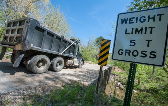 A dump truck crosses a bridge on Prentiss Crump Road in Hinds County, one of dozens closed earlier this year. Mississippi gubernatorial candidates recently discussed their ideas for fixing the state's roads and bridges in recent interviews with the Clarion Ledger.