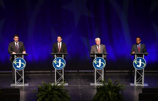 Scott Conger, Mark Johnstone, Jimmy Eldridge, and Jerry Woods participated in the 2019 Jackson Mayoral Forum at the Carl Perkins Civic Center, Tuesday, March 26.