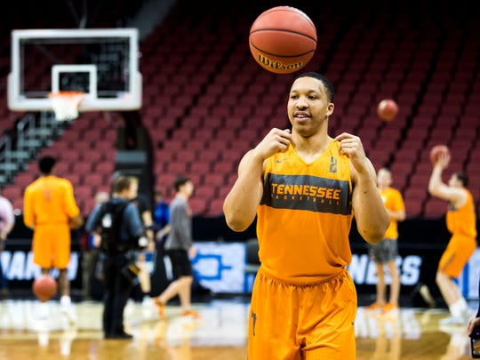 Tennessee forward Grant Williams (2) during the Tennessee Volunteers' NCAA Tournament practice at the KFC Yum! Center in Louisville, Ky., on Wednesday, March 27, 2019.
