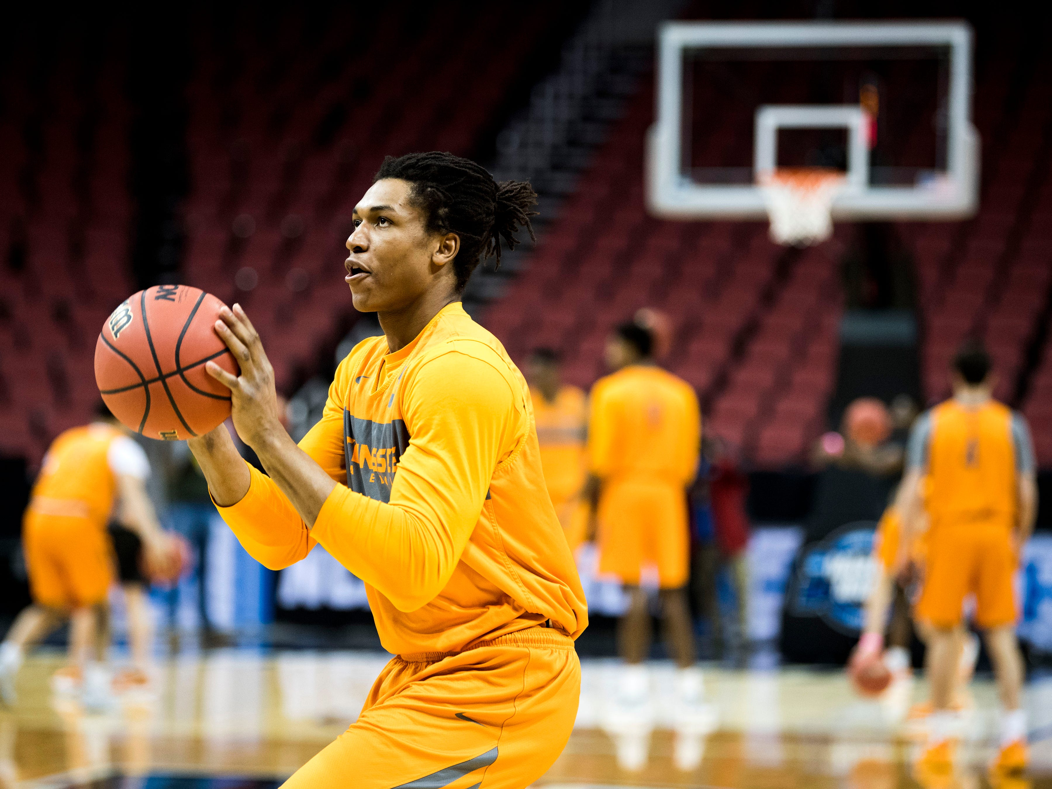 Tennessee guard/forward Yves Pons (35) takes a shot during the Tennessee Volunteers' NCAA Tournament practice at the KFC Yum! Center in Louisville, Ky., on Wednesday, March 27, 2019.