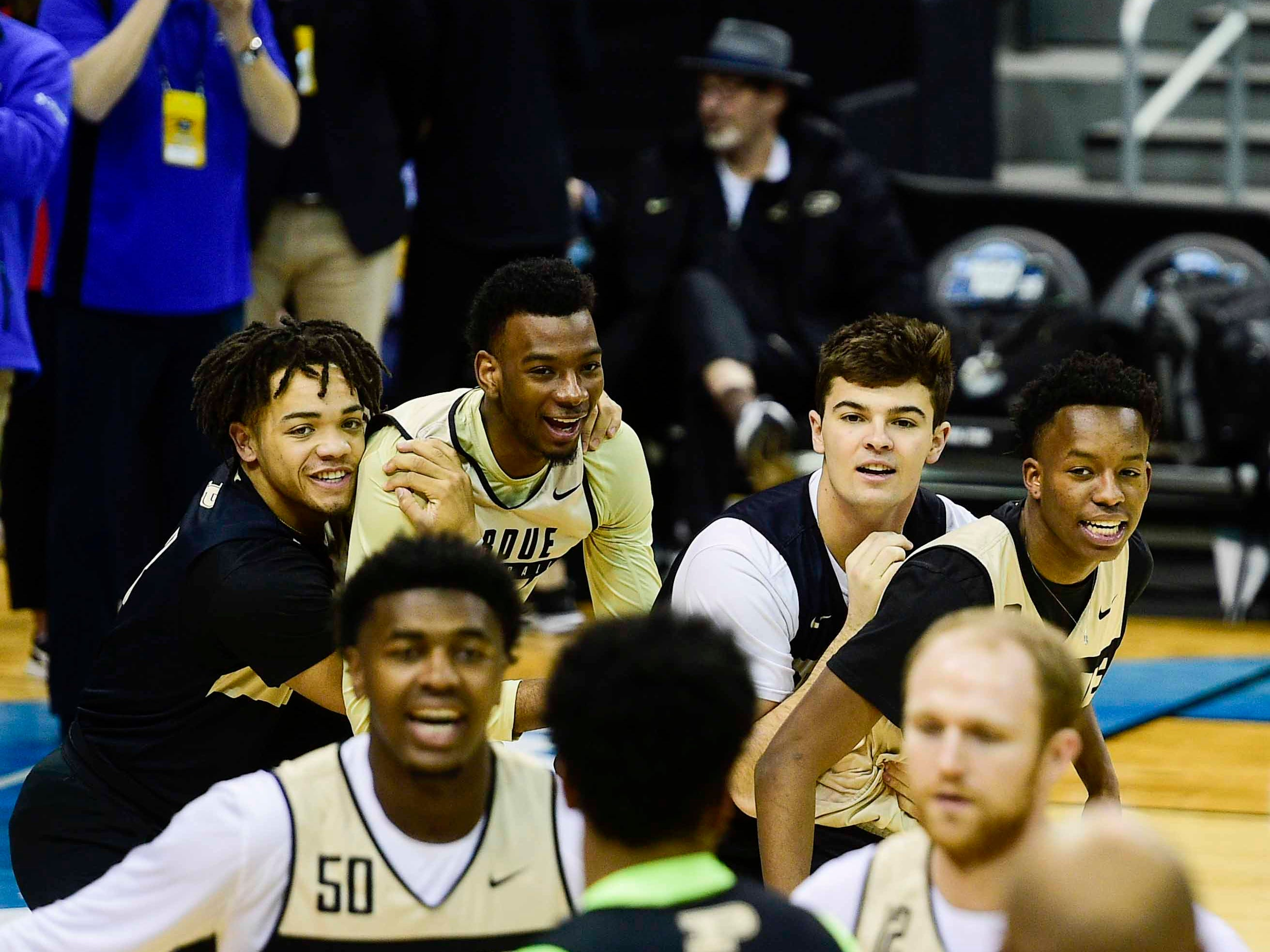 Mar 27, 2019; Louisville, KY, United States; Purdue Boilermakers team members participate in drills during Purdue Boilermakers practice for the south regional of the 2019 NCAA Tournament at KFC Yum Center. Mandatory Credit: Thomas J. Russo-USA TODAY Sports