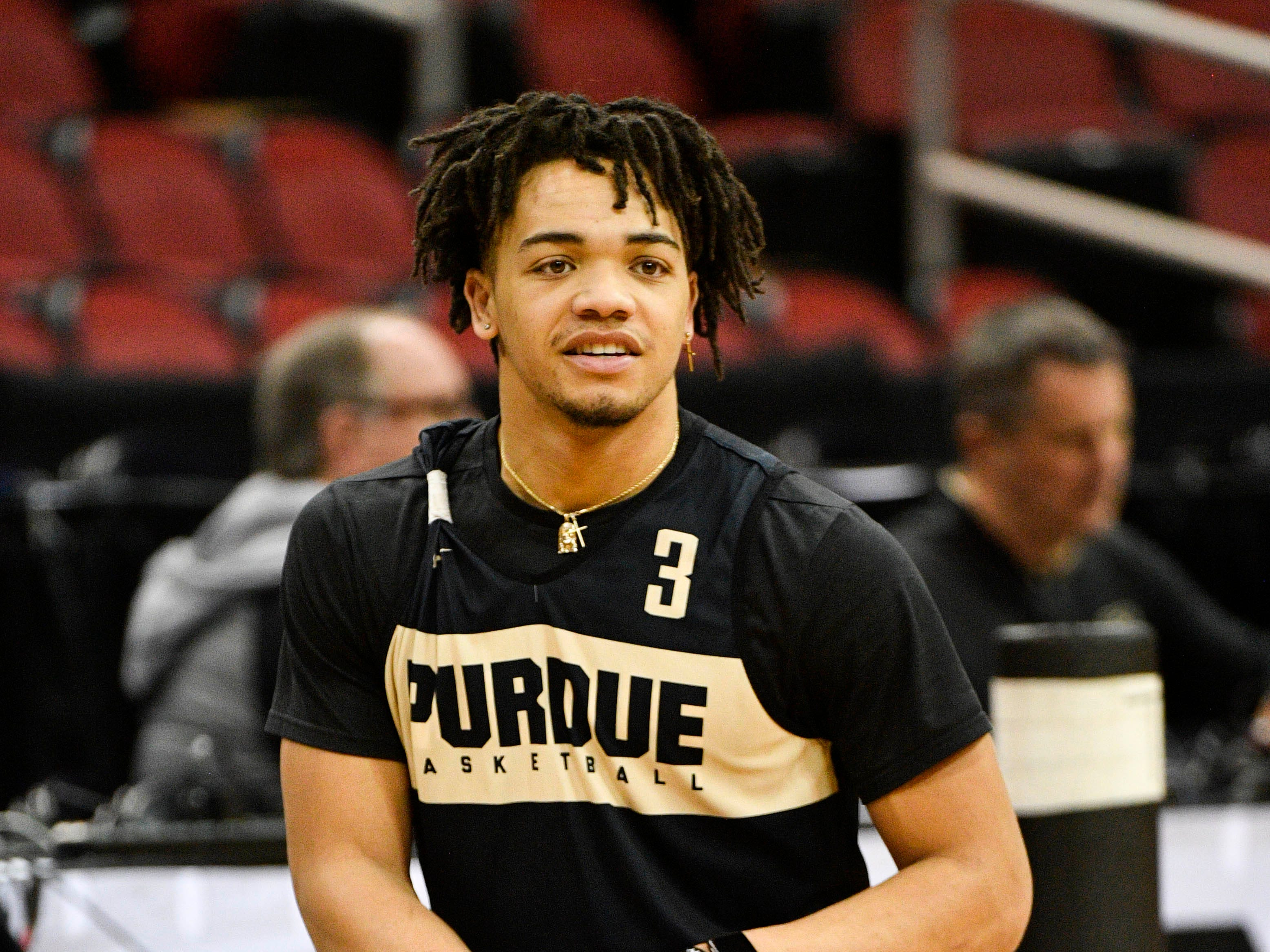 Mar 27, 2019; Louisville, KY, United States; Purdue Boilermakers guard Carsen Edwards (3) warms up during the Purdue Boilermakers practice for the south regional of the 2019 NCAA Tournament at KFC Yum Center. Mandatory Credit: Jamie Rhodes-USA TODAY Sports