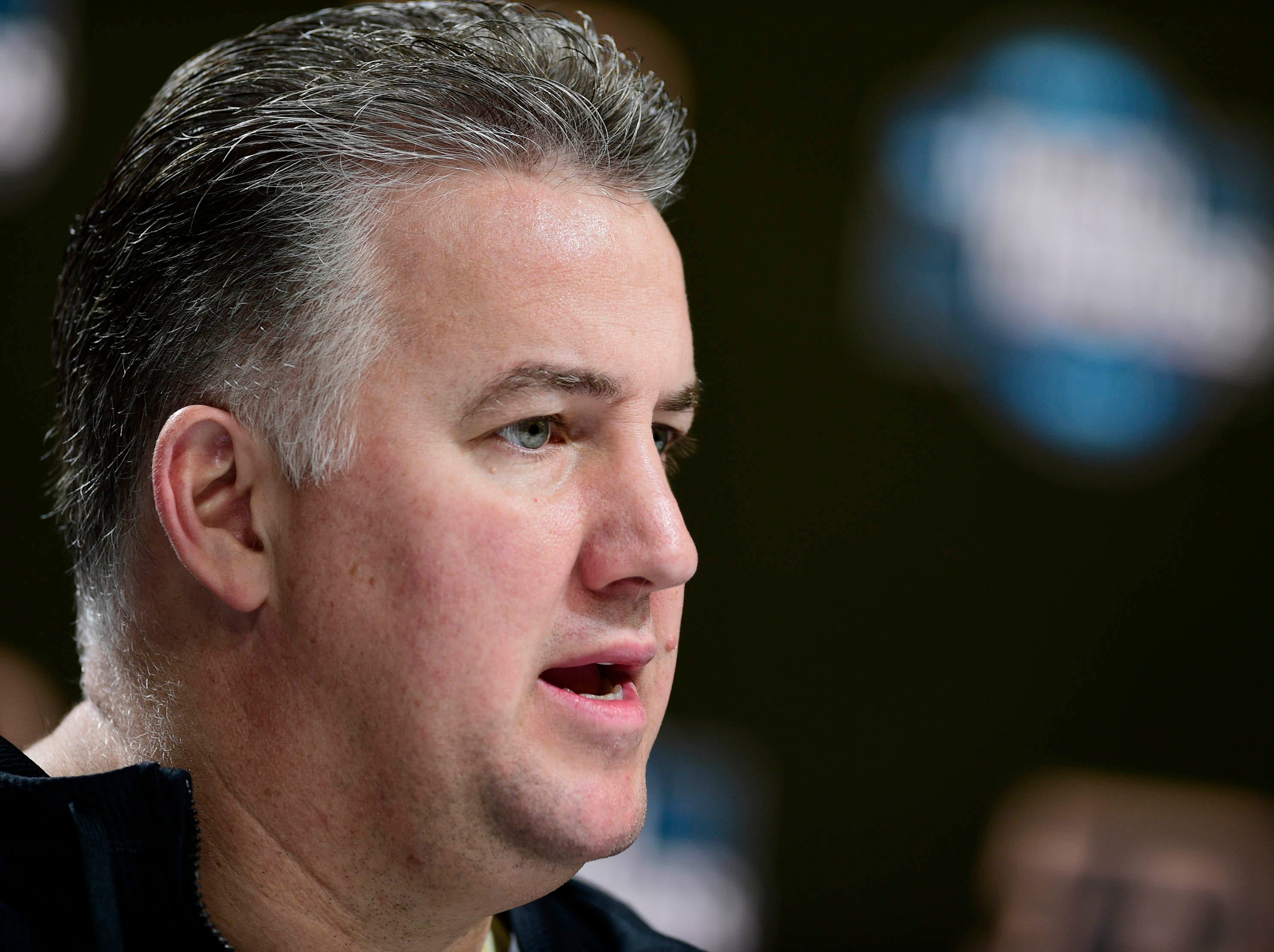 Mar 27, 2019; Louisville, KY, United States; Purdue Boilermakers head coach Matt Painter speaks during a press conference for the south regional of the 2019 NCAA Tournament at KFC Yum Center. Mandatory Credit: Thomas J. Russo-USA TODAY Sports