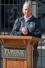 Purdue President Mitch Daniels made the announcement outside Gate E honoring Tyler Trent, the Purdue graduate who died Jan. 1. The Tyler Trent Memorial Gate will be in place prior to the start of the 2019 football season