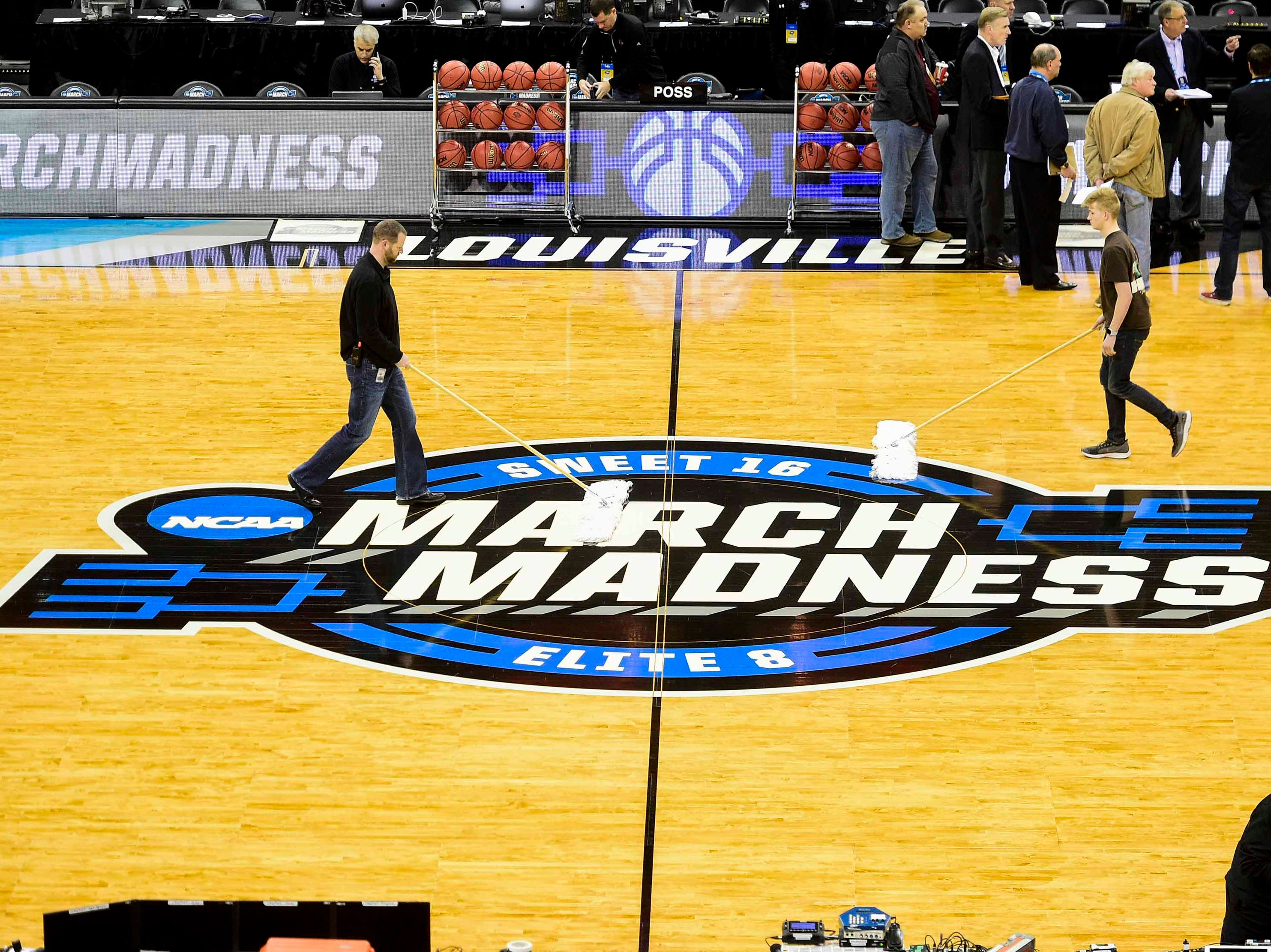 Mar 27, 2019; Louisville, KY, United States; View of the court during Purdue Boilermakers practice for the south regional of the 2019 NCAA Tournament at KFC Yum Center. Mandatory Credit: Thomas J. Russo-USA TODAY Sports