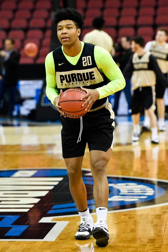 Mar 27, 2019; Louisville, KY, United States; Purdue Boilermakers guard Nojel Eastern (20) dribbles during the Purdue Boilermakers practice for the south regional of the 2019 NCAA Tournament at KFC Yum Center. Mandatory Credit: Jamie Rhodes-USA TODAY Sports