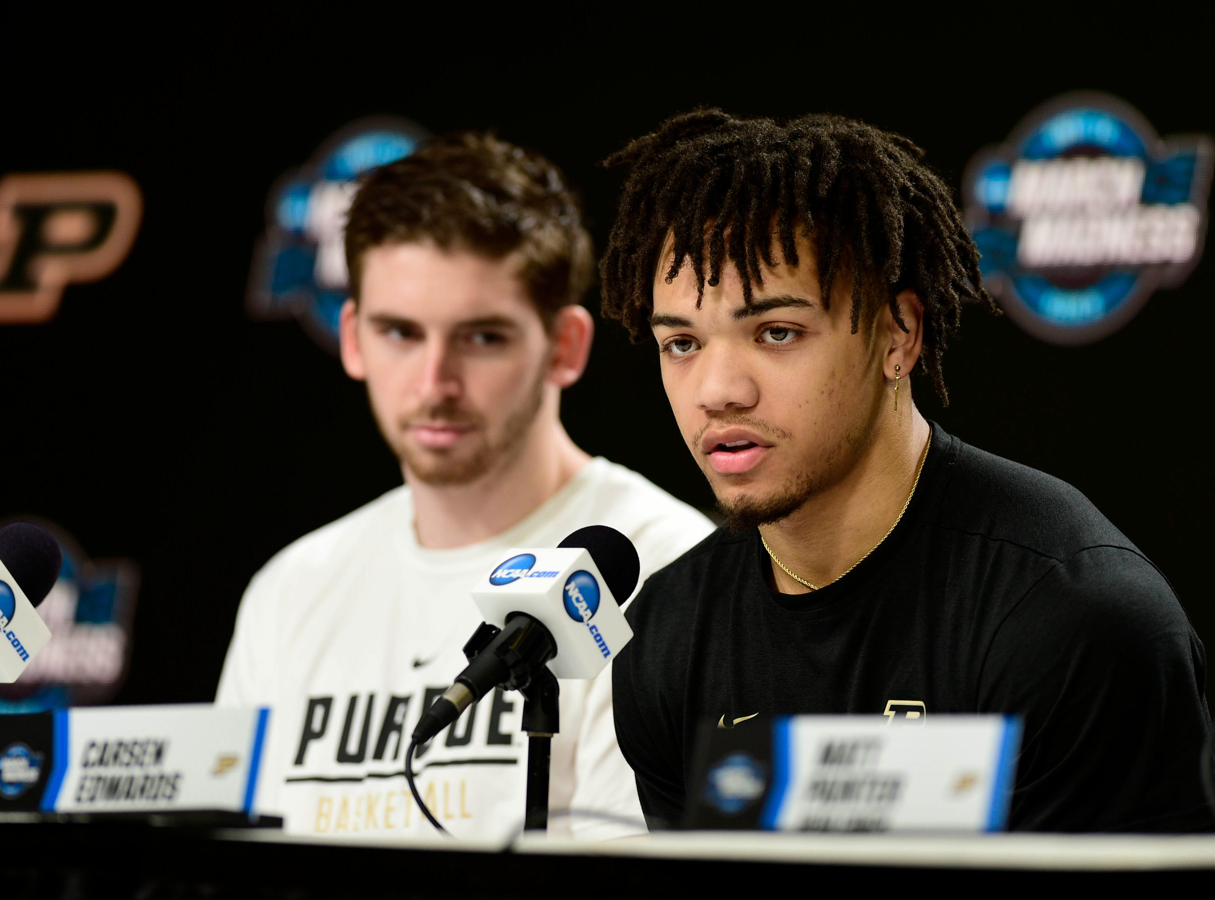 Mar 27, 2019; Louisville, KY, United States; Purdue Boilermakers guard Carsen Edwards (3) speaks during a press conference for the south regional of the 2019 NCAA Tournament at KFC Yum Center. Mandatory Credit: Thomas J. Russo-USA TODAY Sports