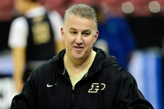 Mar 27, 2019; Louisville, KY, United States; Purdue Boilermakers head coach Matt Painter looks on during Purdue Boilermakers practice for the south regional of the 2019 NCAA Tournament at KFC Yum Center. Mandatory Credit: Thomas J. Russo-USA TODAY Sports