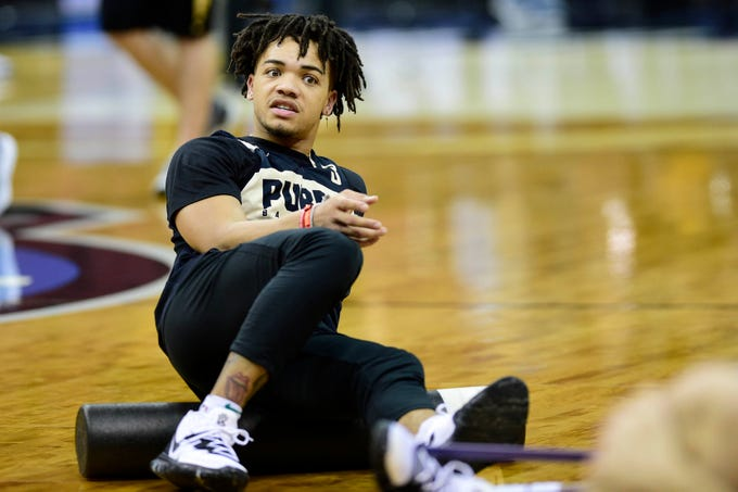 Mar 27, 2019; Louisville, KY, United States; Purdue Boilermakers guard Carsen Edwards (3) warms up during Purdue Boilermakers practice for the south regional of the 2019 NCAA Tournament at KFC Yum Center. Mandatory Credit: Thomas J. Russo-USA TODAY Sports