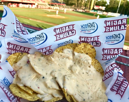 Crawfish nachos ($8) are among the more tasty food options at a M. L. Tigue Moore Field at Russo Park, the home of the Louisiana Lafayette Ragin' Cajuns.'