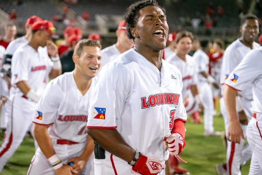 UL's Colton Frank celebrates his game-winning home run in a 7-6 victory over Tulane.