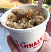 Chicken and sausage jambalaya ($8) is filling and delicious. There's also a pasta version for the same price at Ragin' Cajun' baseball games in Lafayette, Louisiana.