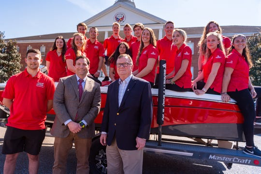 The Ragin' Cajun Water Ski Team unveiling new 2019 MasterCraft Ski Boat, donated to the team in part by Joe Spell, CEO and Founder of Tides Medical, a Lafayette-based regenerative medicine company.. Wednesday, March 27, 2019.