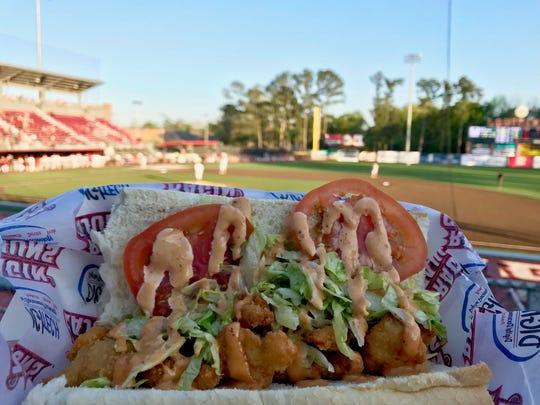 The shrimp po' boy ($8) sold at Louisiana Lafayette Ragin' Cajun' baseball games. The other option is a sausage po' boy.