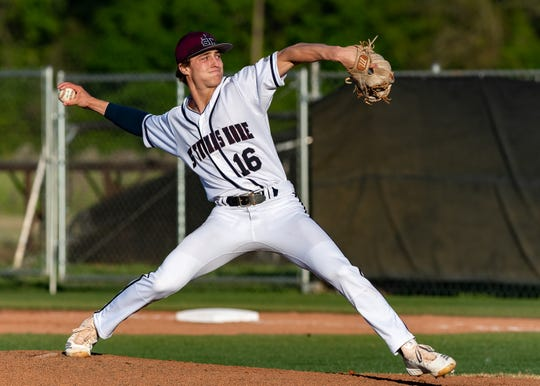 Starting pitcher Grant St Cyr on the mound as St Thomas More takes down Teurlings. Tuesday, March 26, 2019.